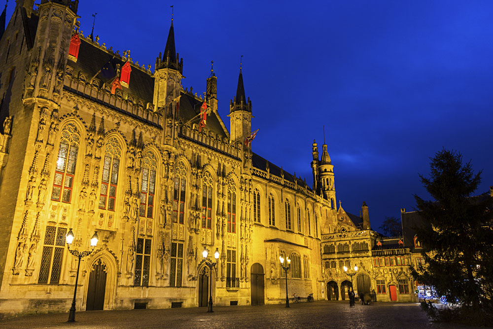 City Hall and Basilica of the Holy Blood in Burg Square, Bruges, Belgium