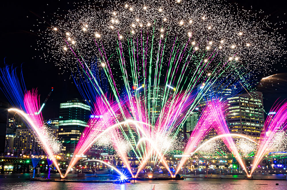 Colourful Fireworks at Darling Harbour During Vivid in Sydney, Australia