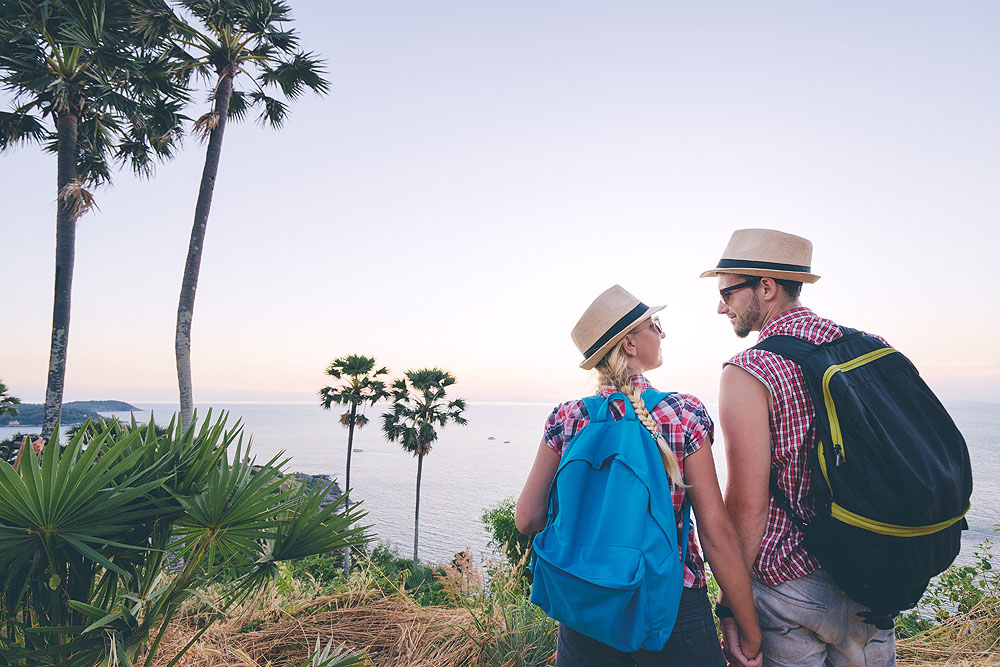 Couple Walking in Mountains Near Phuket, Thailand