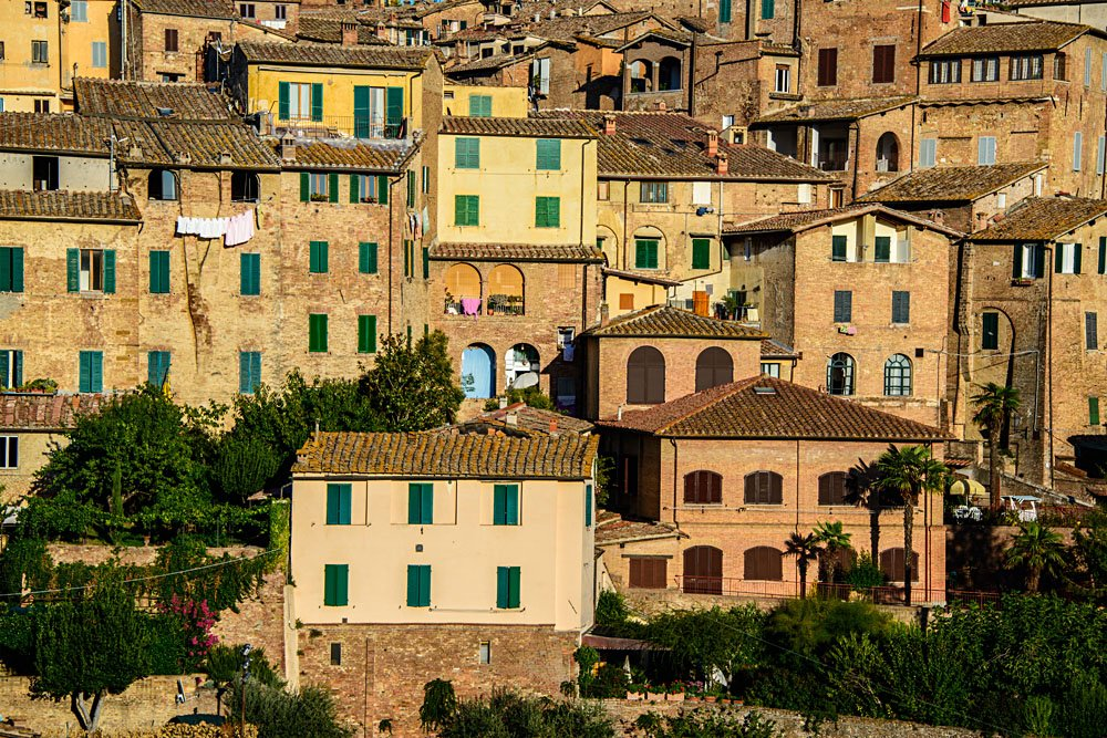 Details of Medieval Houses in Siena, Tuscany, Italy