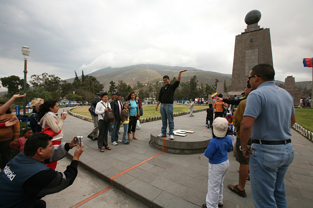 Don Forster - Demonstrating the Balance Walk on the Equator at Mitad del Mundo Near Quito, Ecuador