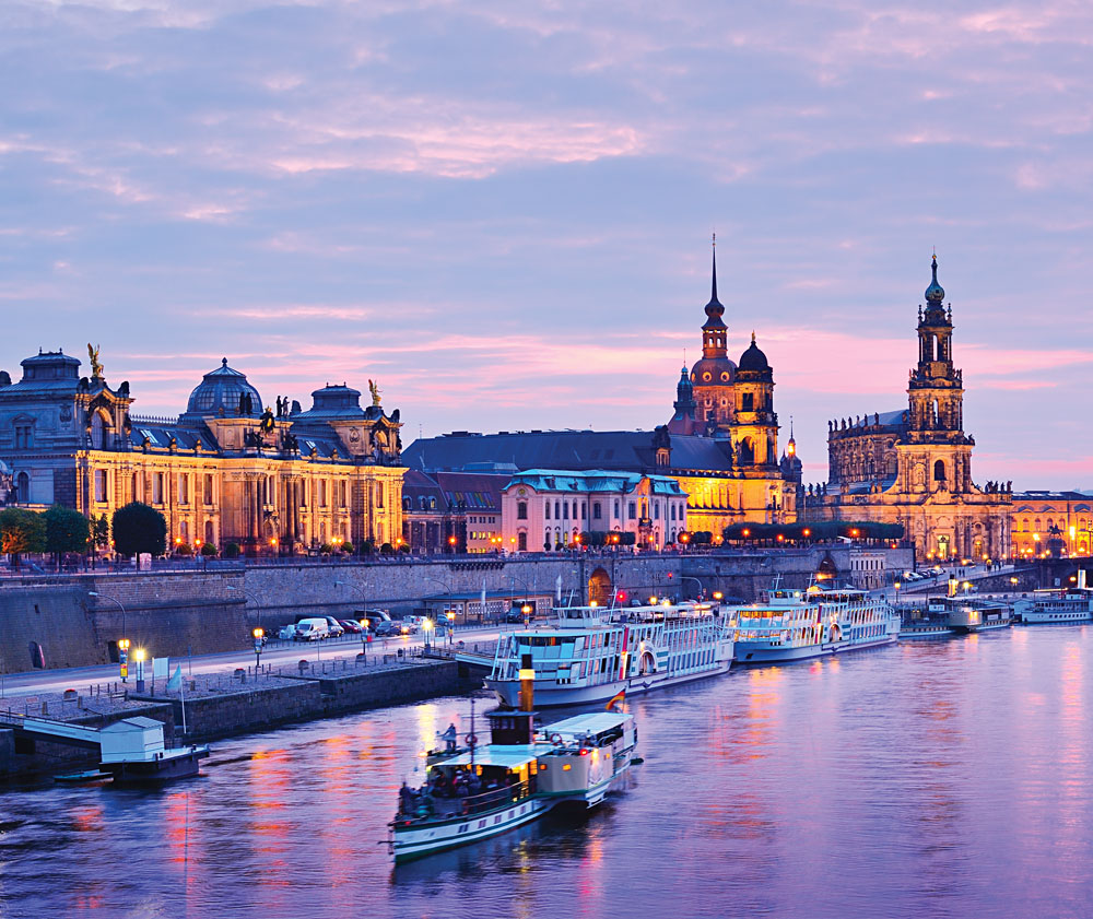 Dresden Cityscape Over the Elbe River, Dresden, Germany
