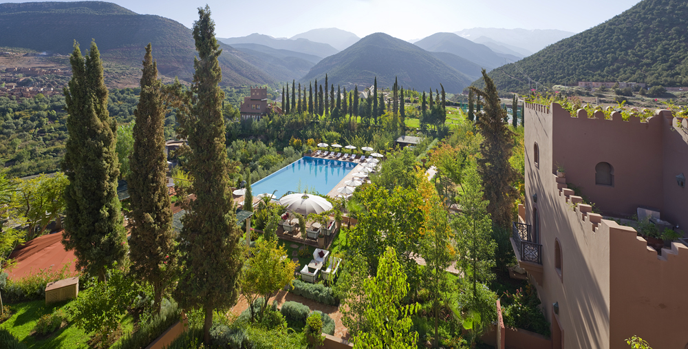 Kasbah Tamadot Hotel - Aerial Pool View, Atlas Mountains, Marrakesh, Morocco