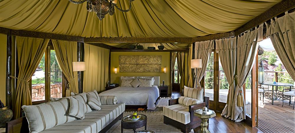 Kasbah Tamadot Hotel - Berber Tent Interior, Atlas Mountains, Marrakesh, Morocco