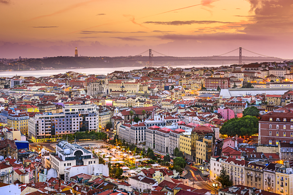 Lisbon Skyline at Sunset, Portugal