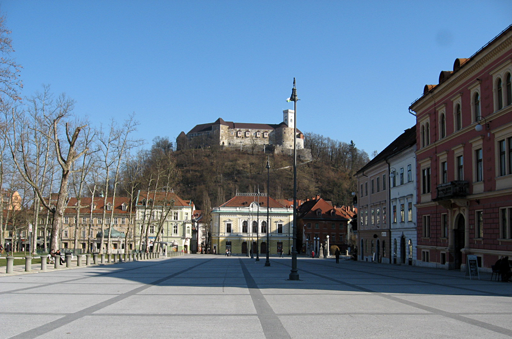 Ljubljana Castle Seen from the Old Town, Slovenia