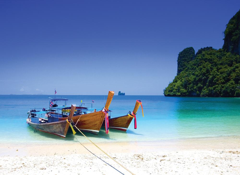 Longtail Boats by the Shore at Koh Hong Island, Krabi, Thailand