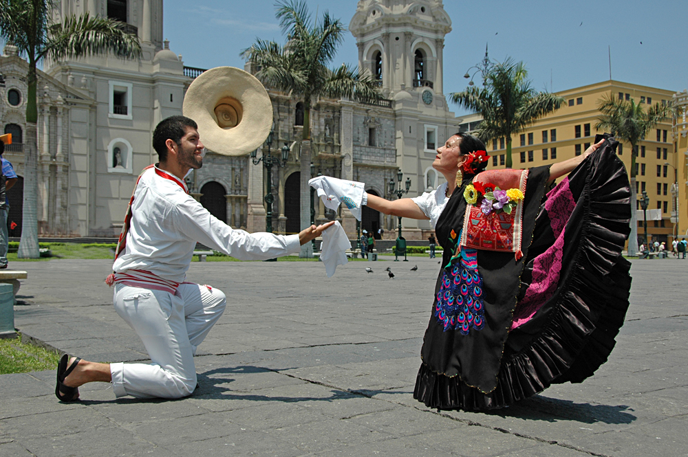 Marinera Dancers in Front of the Basilica Cathedral in Lima, Peru