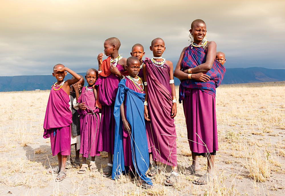Masai (Maasai) Woman and Children Posing in the African Savannah, Tanzania