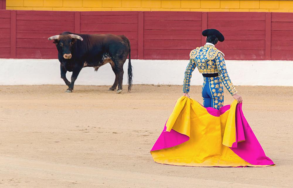 Matador Awaiting Bull in Bullring, Spain