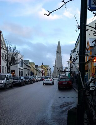Reykjavik Street with Hallgrimskirkja Church in the Background, Iceland