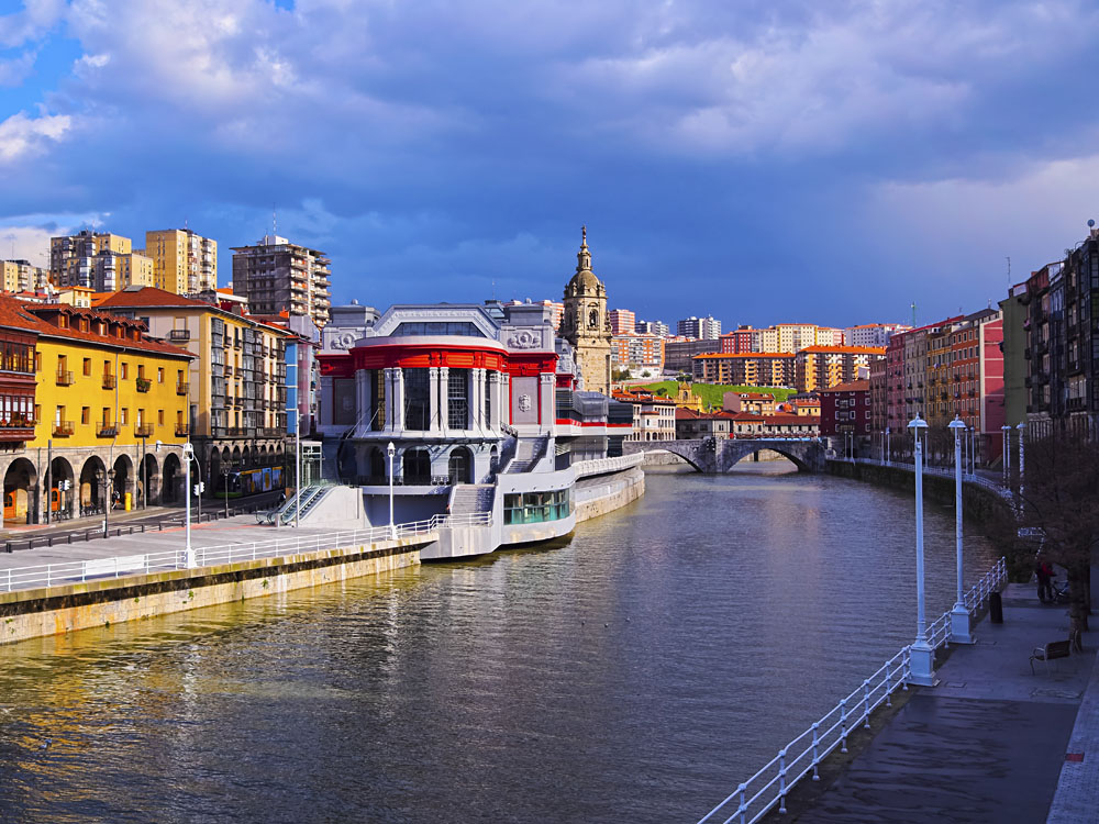 Ribera Riverside Market and the Nervion River in Bilbao, Spain
