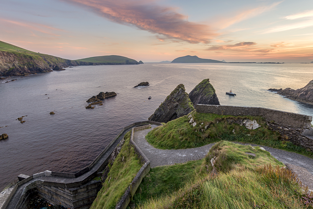 Road Down to Dunquin Harbor with View of Blasket Islands, Dingle Peninsula, Ireland
