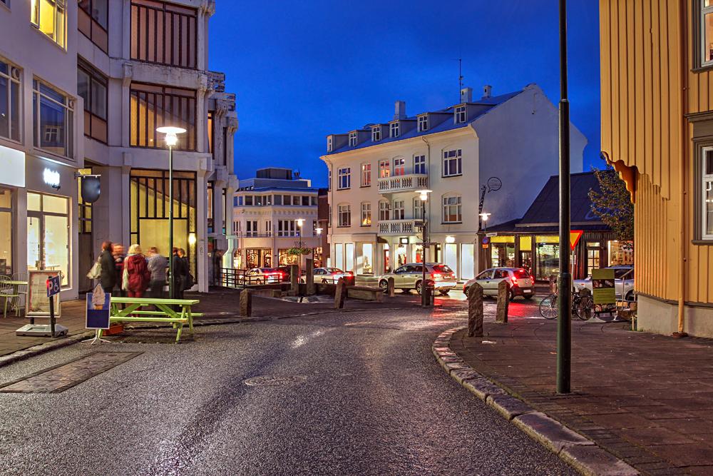 Skolavordustigur Street Scene in Downtown Reykjavik, Iceland