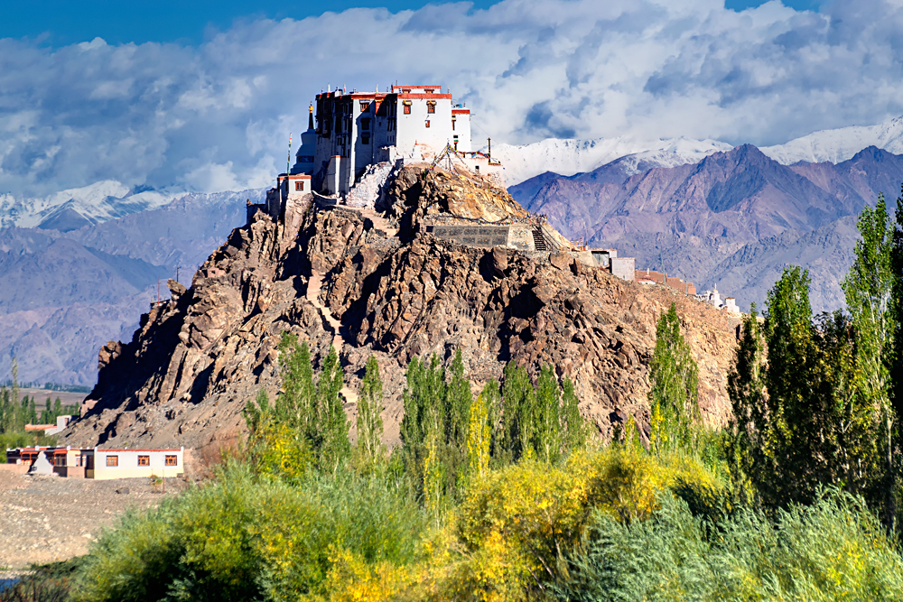 Stakna Buddhist Monastery with View of Himalayan Mountians, Leh, India