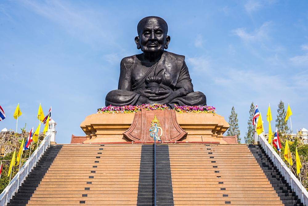 Statue of Famous Monk, Luang Phor Thuat at Wat Huay Mongkol Buddhist Temple, Hua Hin, Thailand