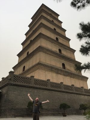 Steve Perkins in Front of Giant Wild Goose Pagoda, Xian, China
