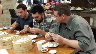 Three Guys Eating Dim Sum at Din Tai Fung, Taipei, Taiwan