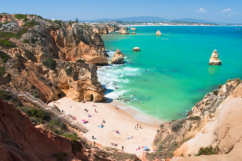 White Sand Beach on the Algarve Coast, Portugal