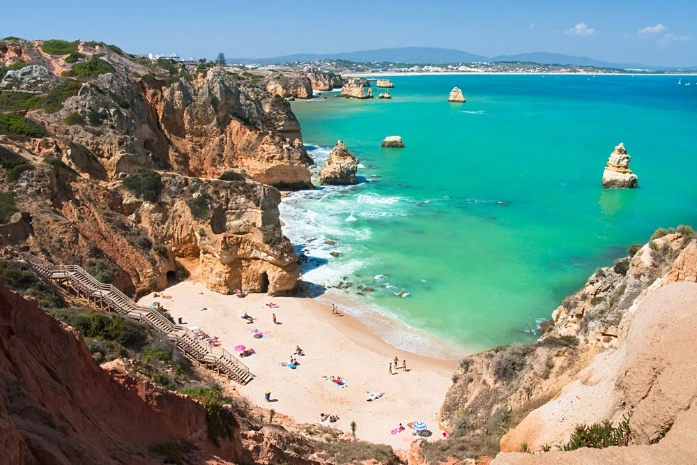 White Sand Beach on the Algarve Coast, Portugal