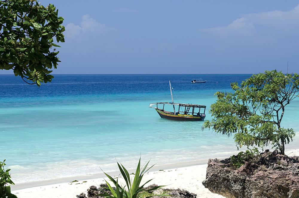 Wooden Boat on Turquoise Water, Zanzibar, Tanzania