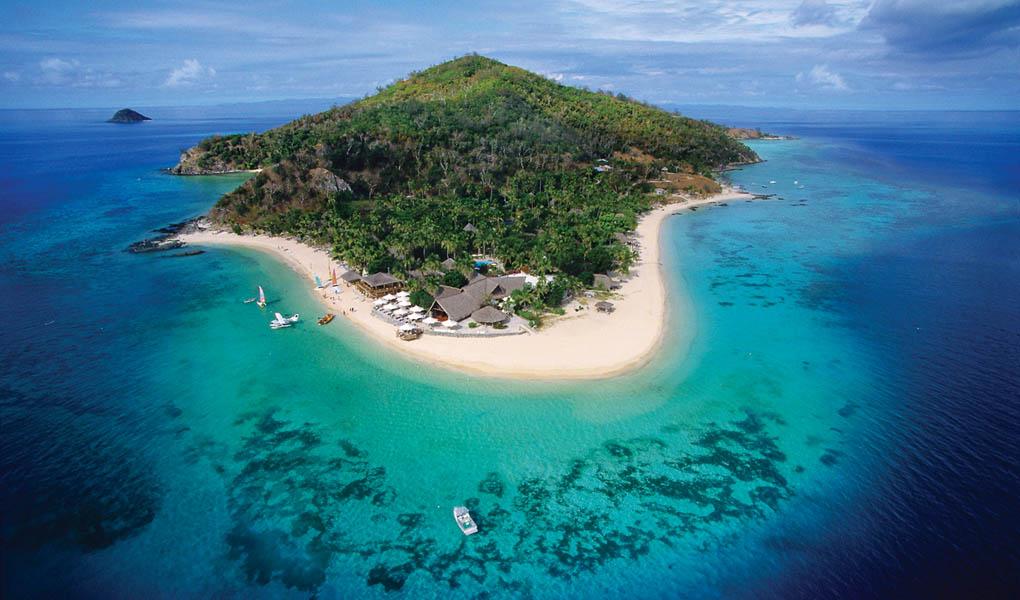Aerial view of Castaway Island Fiji