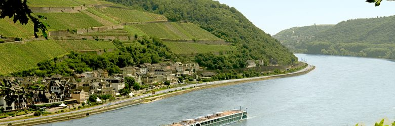 Amadeus Silver Vessel Sailing Along the Rhine River, Europe