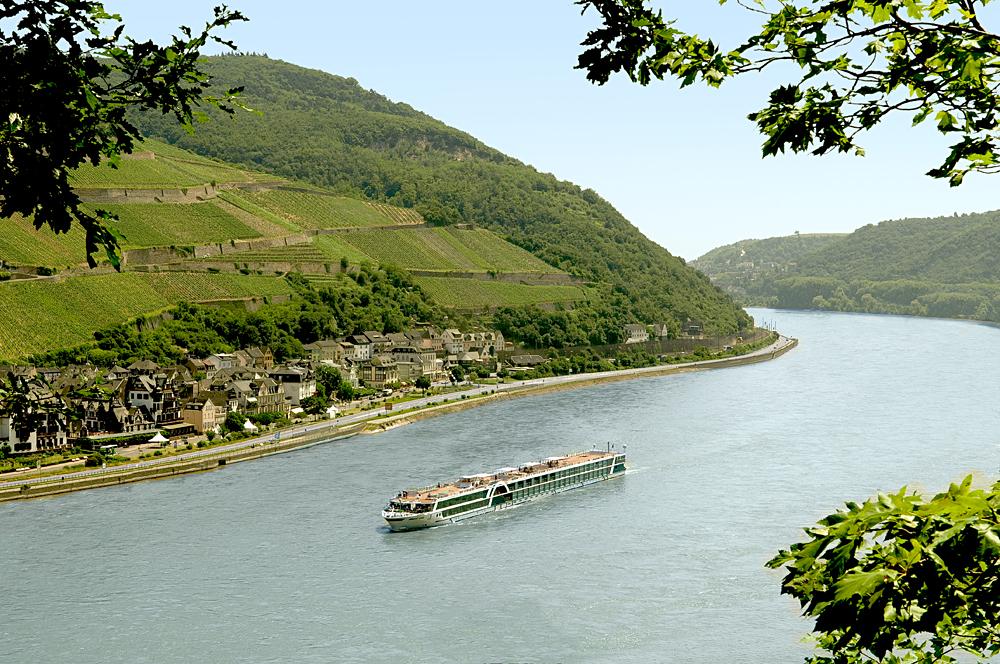 Amadeus Silver Vessel Sailing Along the Rhine River, Europe