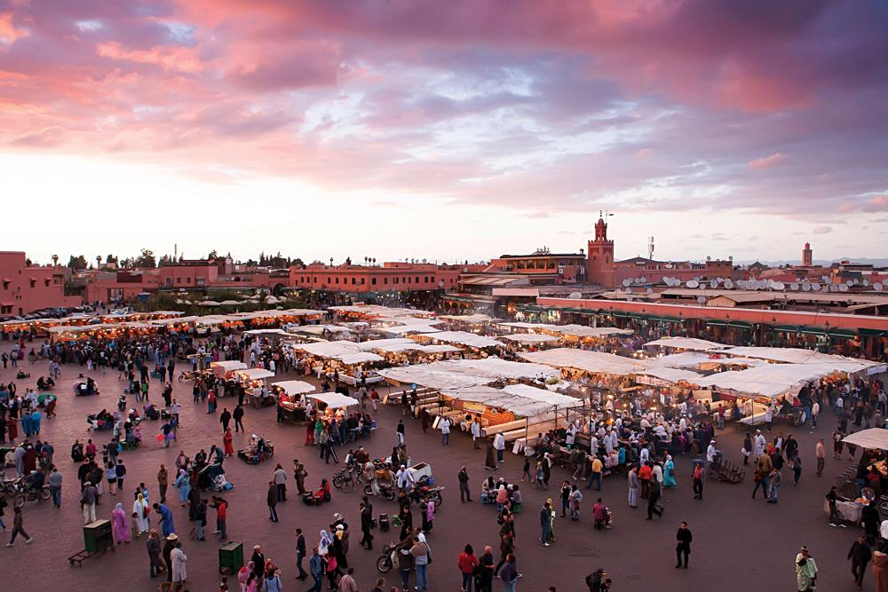 Djemaa El-Fna Square in Marrakesh, Morocco