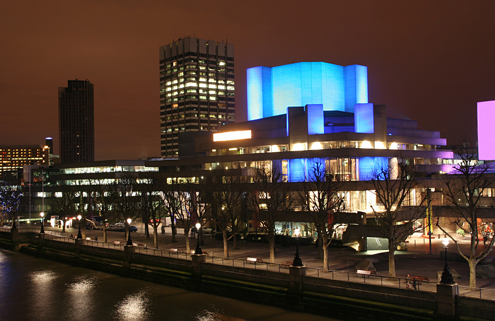 London National Theatre at Night, London, England, UK