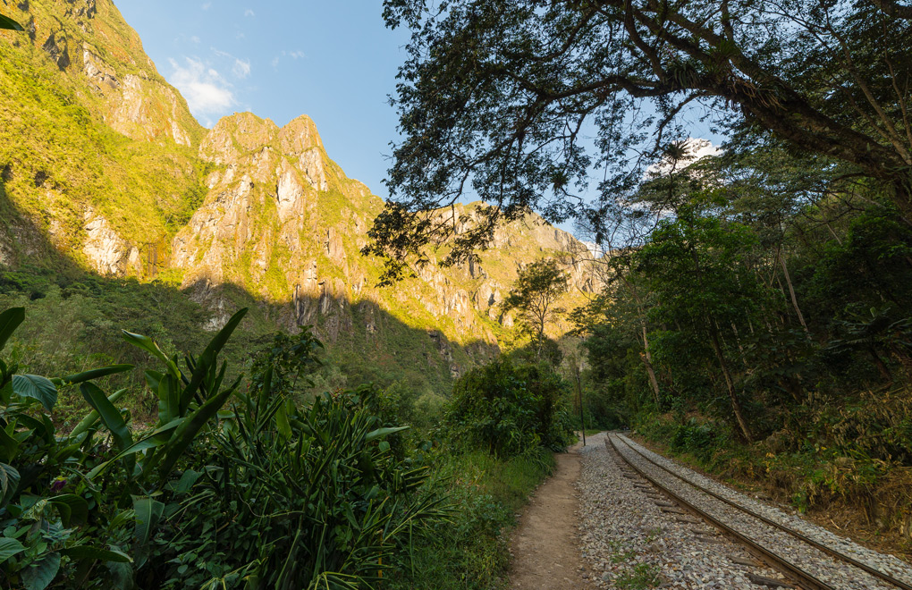 The rail line leading to Machu Picchu