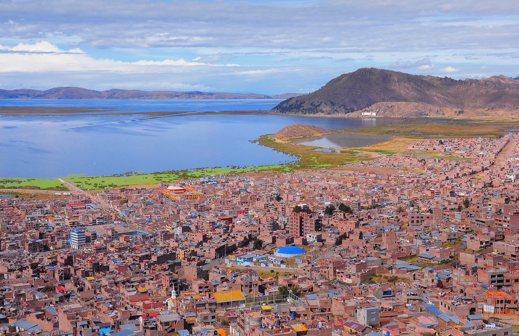 The city of Puno on the shores of Lake Titicaca.