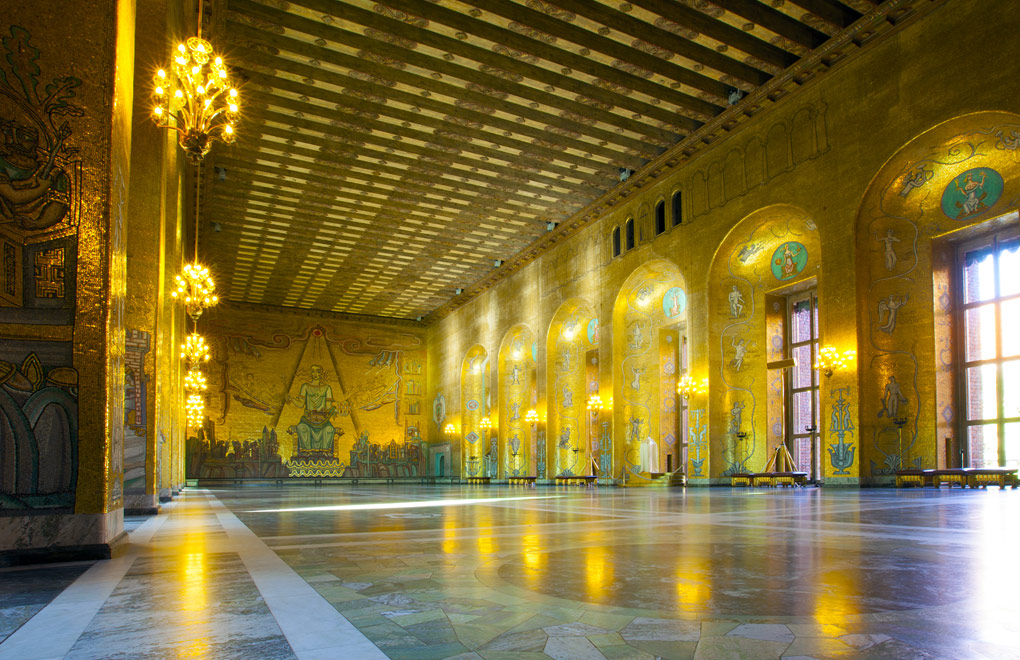 Sweden, Stockholm, Kungsholmen City Hall, the Golden Room.