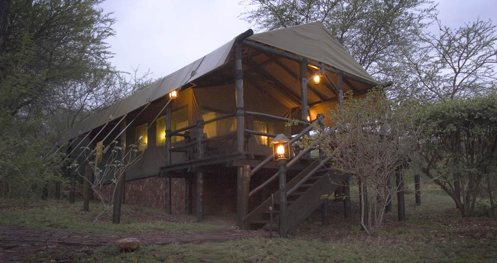 A luxury tented camp on a Serengeti National Park in Tanzania