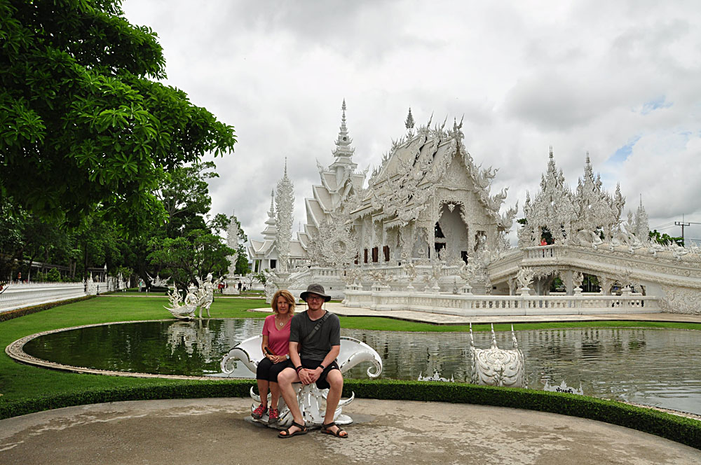 Carolyn Weppler - Carolyn and Her Son at Wat Rong Khun or White Temple, Chiang Rai, Thailand