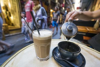Enjoying Coffee and Tea at a Cafe in a Laneway in Centre Place, Melbourne, Victoria, Australia