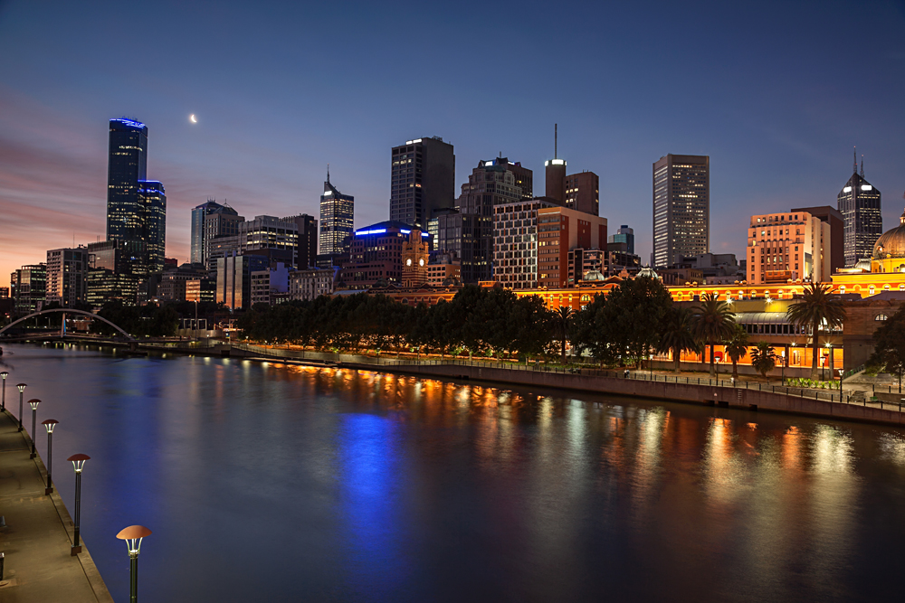 Melbourne Skyline from Southbank, Melbourne, Victoria, Australia
