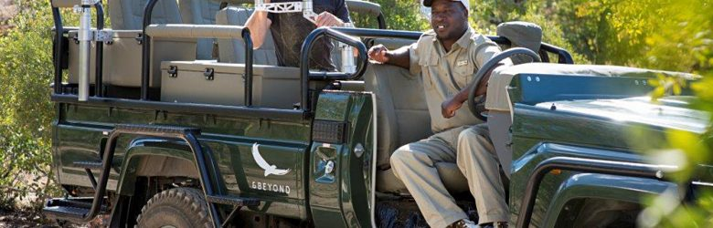 Ngala Safari Lodge Specialist Photographic Vehicle with Tourist and Expert, South Africa