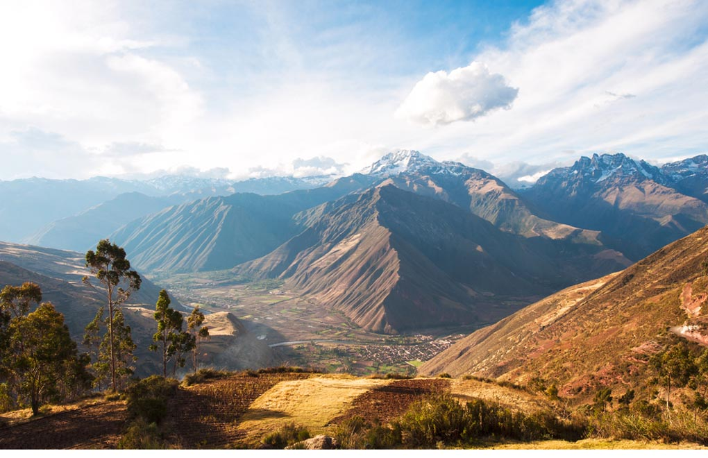 Sacred Valley harvested wheat field in Urubamba valley in Peru