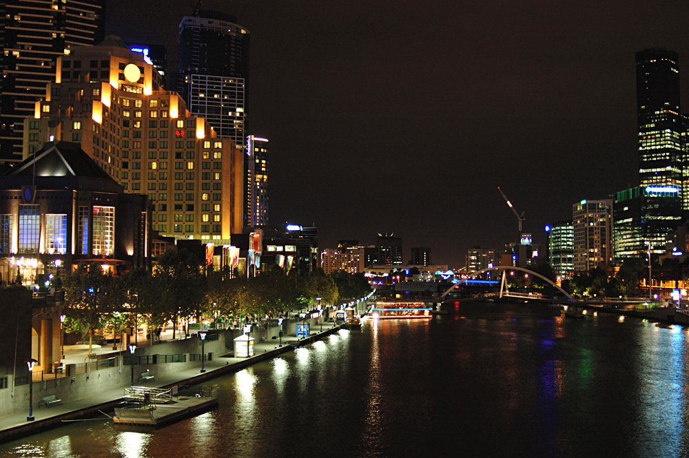 Southbank and Melbourne City at Night from St kilda Road Bridge, Melbourne, Victoria, Australia