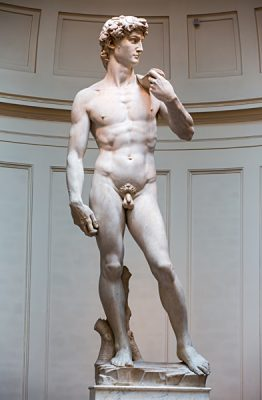 Statue of David by Michelangelo in Galleria Dell'Accademia Uffizi Museum in Florence, Italy