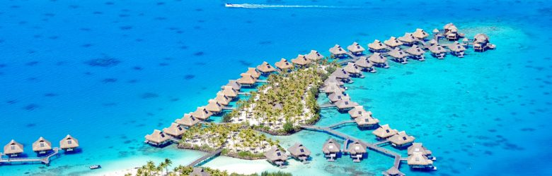 Aerial view of Bora Bora resort