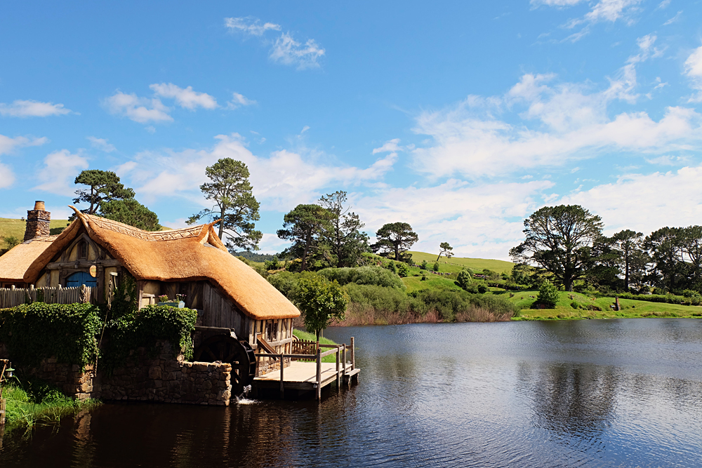 Watermill by the Lake at Hobbition Movie Set, New Zealand