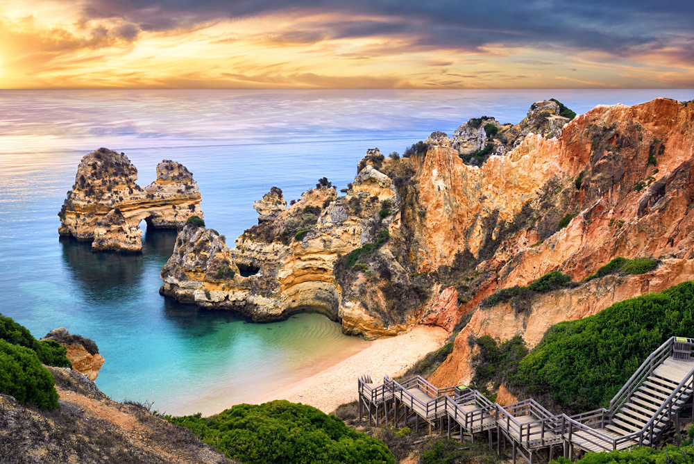 Beautiful Camilo Beach in Lagos in the Algarve, Portugal
