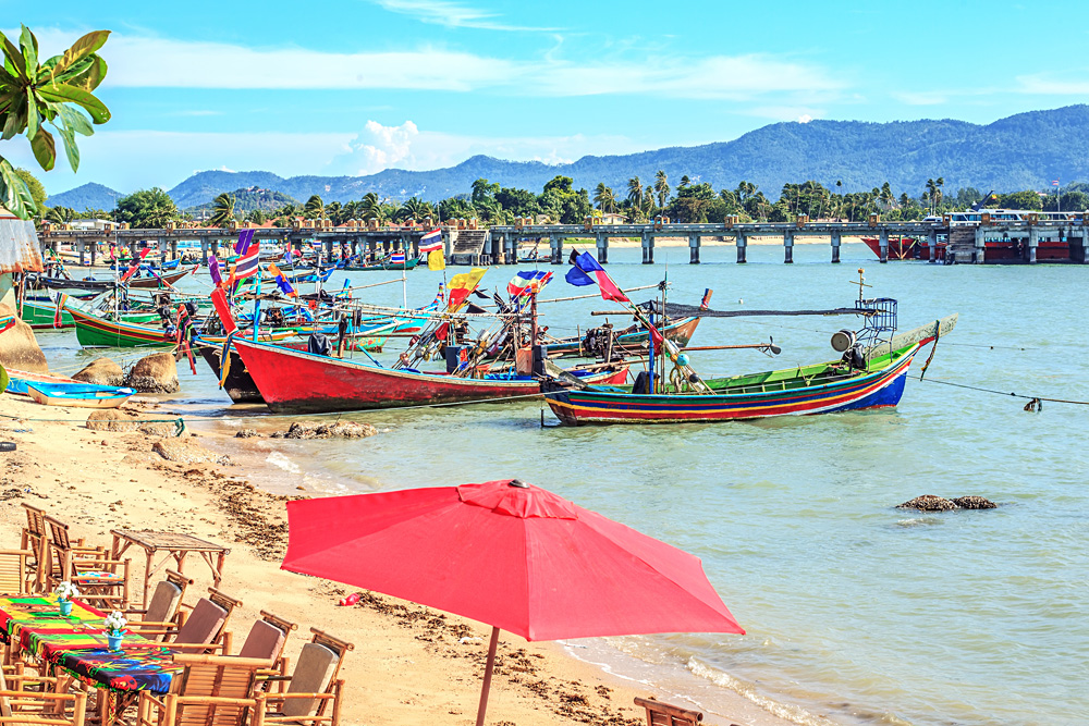 Fisherman boats docked at Big Buddha Pier, Koh Samui, Thailand