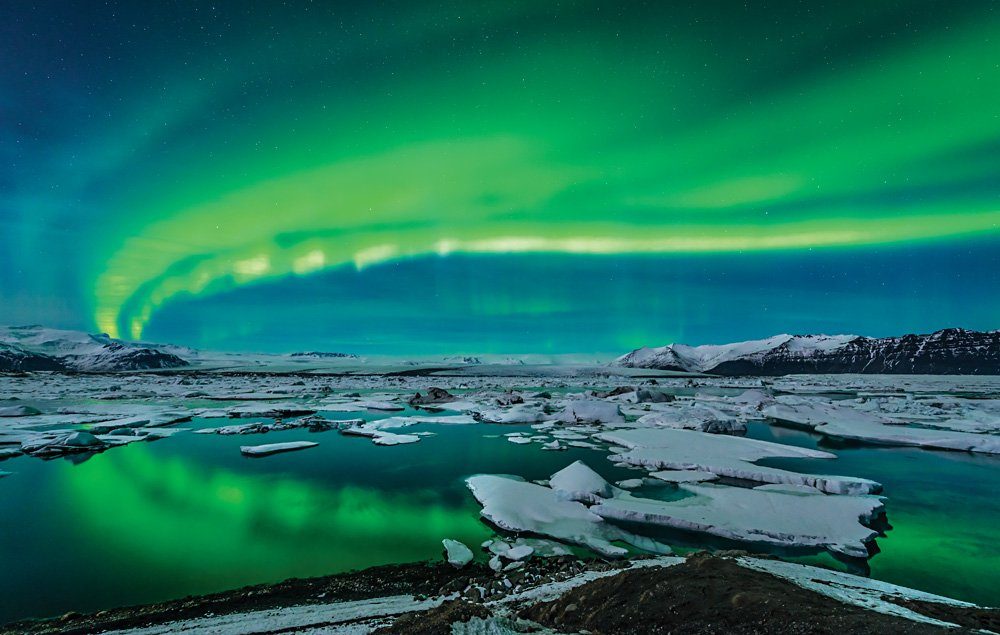 Northern Lights over Jokulsarlon Glacier Lagoon, Iceland
