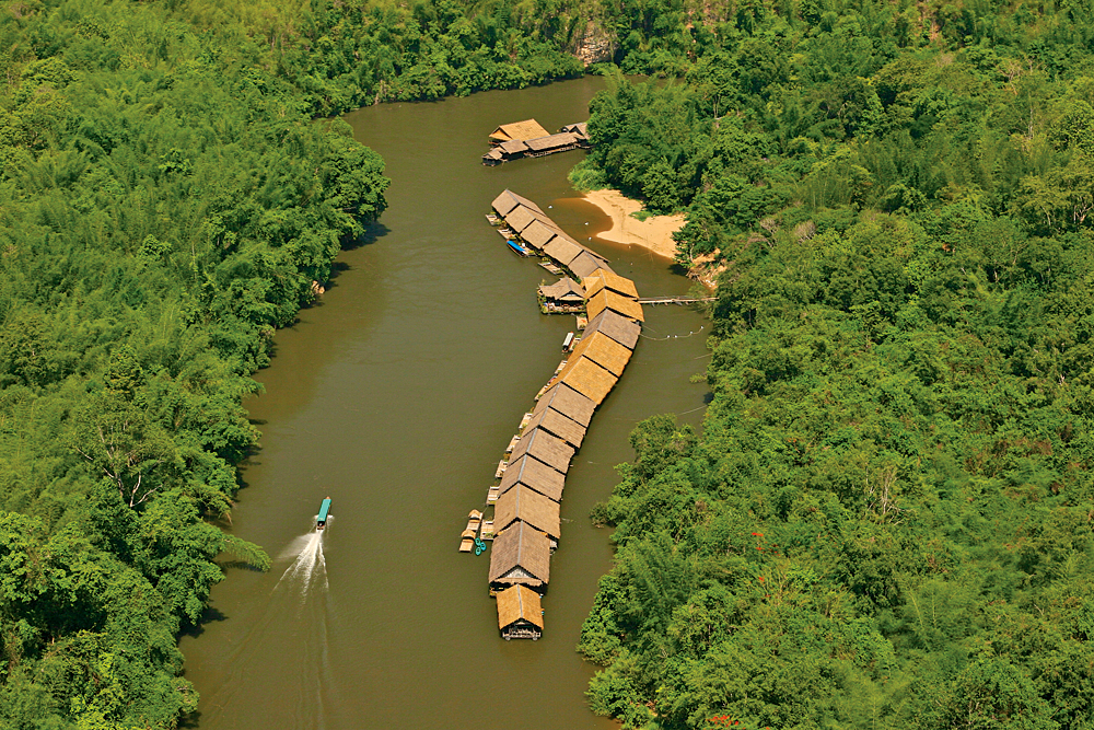 Aerial view of River Kwai Jungle Rafts Resort, Kanchanaburi, Thailand