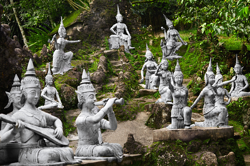 Statues of humans and deities at Secret Buddha Garden, Koh Samui, Thailand