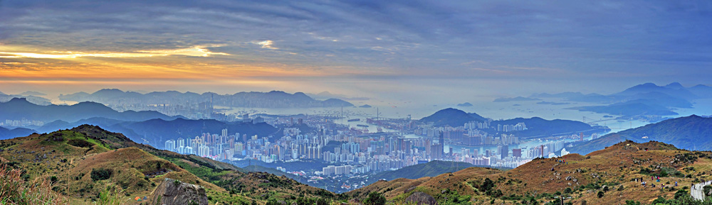 Sunrise in Victoria Harbour and Tsuen Wan from Tai Mo Shan, Highest Hill in Hong Kong