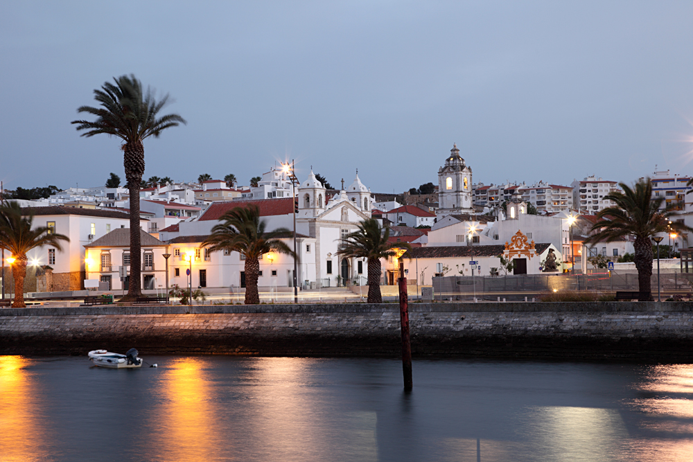 Town of Lagos at Dusk in the Algarve, Portugal
